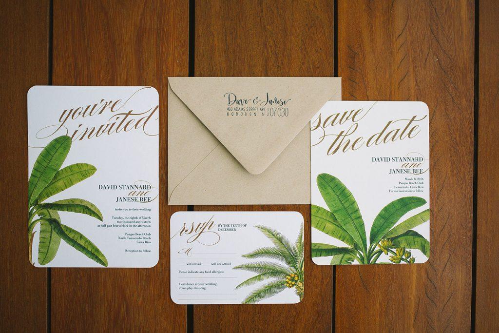Tropical Invitations Costa Rica Wedding