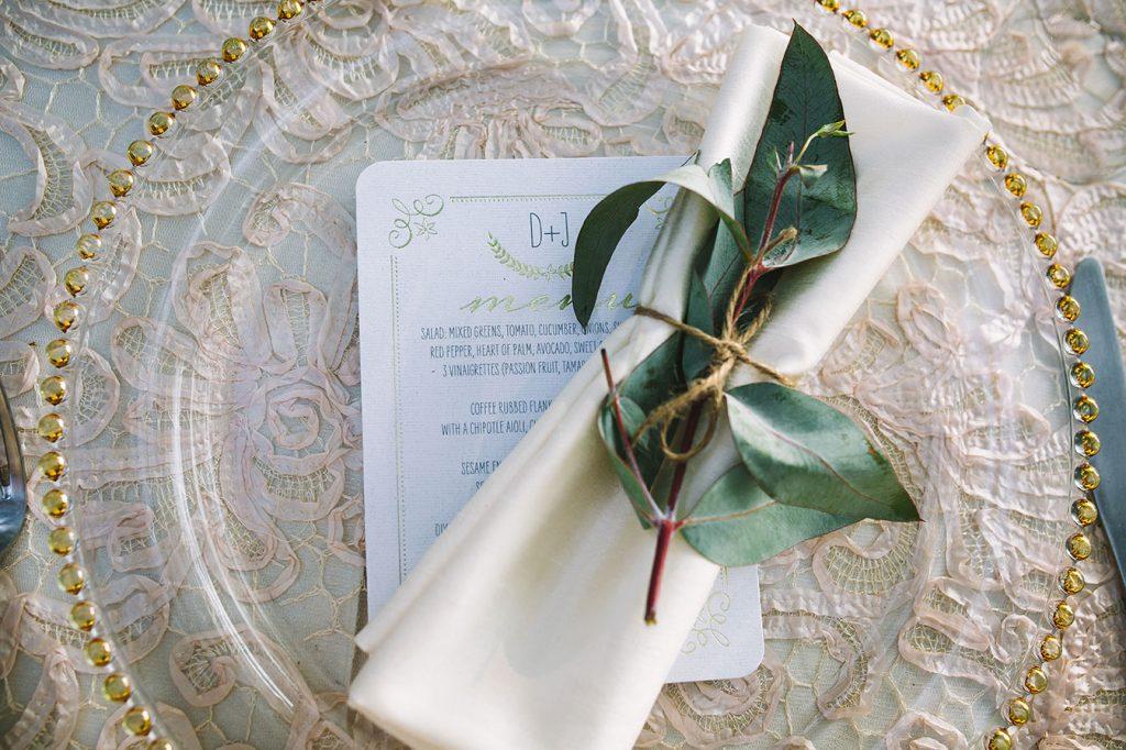Menu Details Costa Rica Wedding