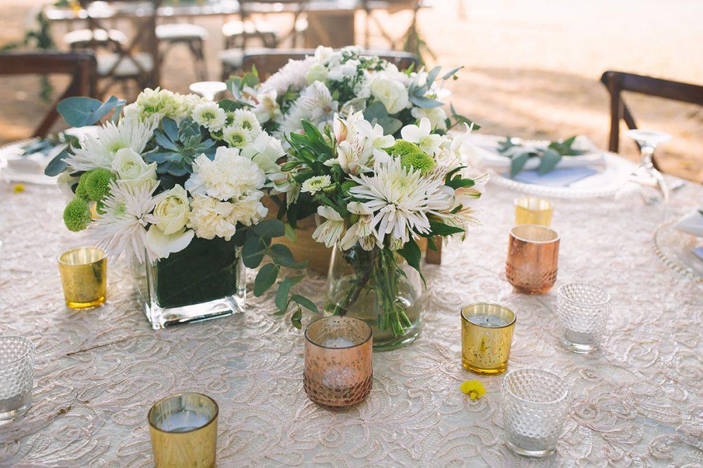 White Centerpiece Costa Rica Wedding