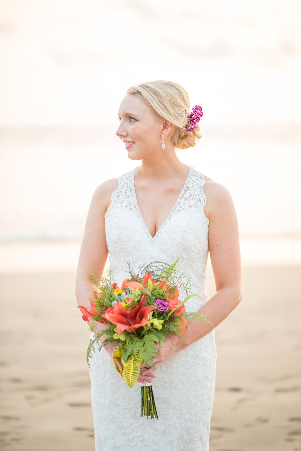 bride with orchids in her hair