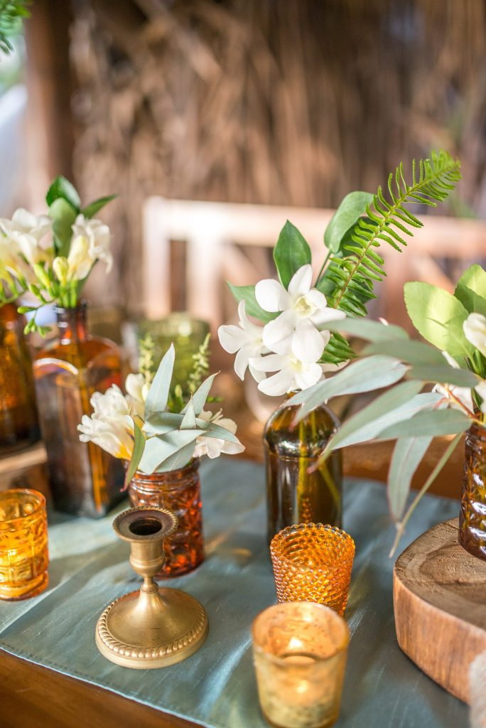 Flowers Amber Bottles Costa Rica Wedding Decor