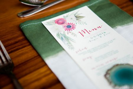 Destination Wedding Tropical Place Setting Dip Dyed Napkin and Tropical Menu, Destination Wedding Planner Meghan Cox Mil Besos, Photographer Madison Baltodano