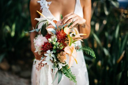 Tropical Flower Bride Bouquet Tamarindo Costa Rica Wedding Planner Meghan Cox Mil Besos, Photo Haley Ausperger Photo