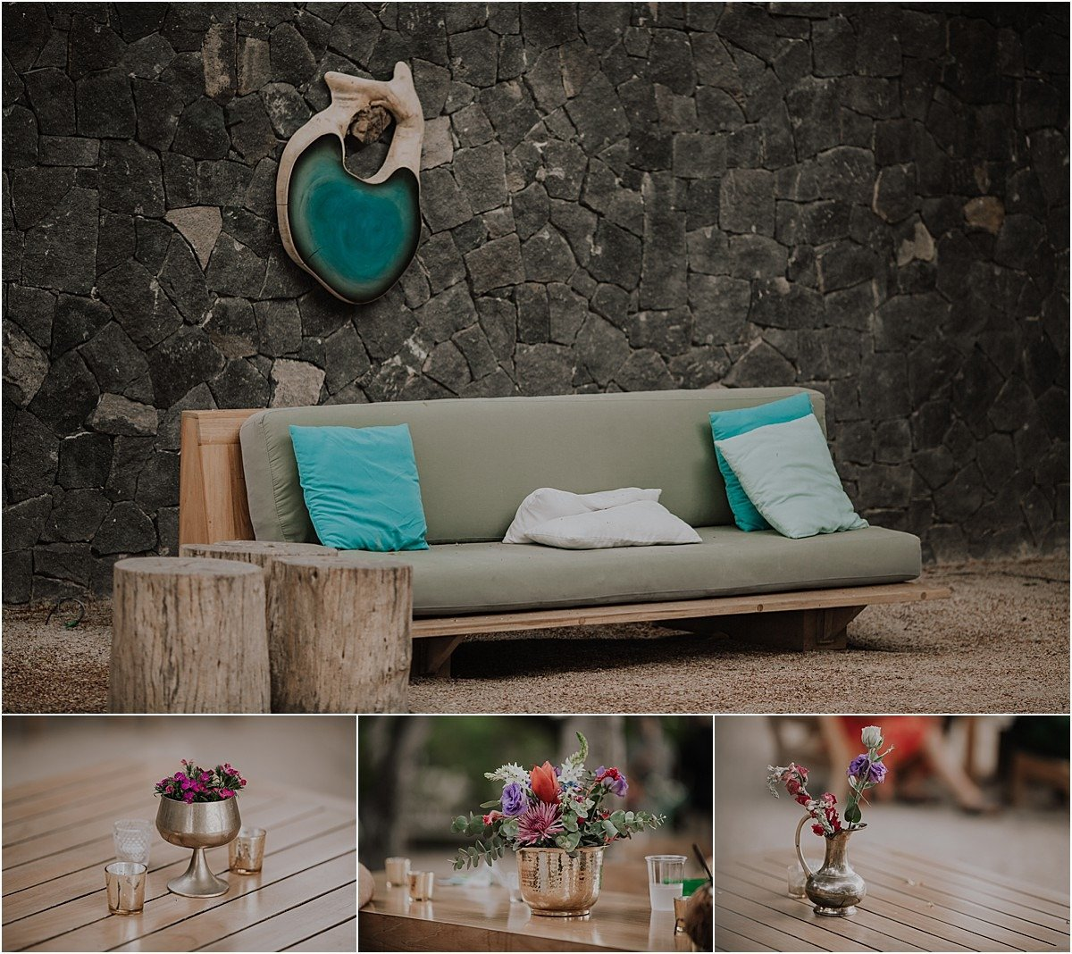 Pangas Beach Club Wedding design blue couch lounge