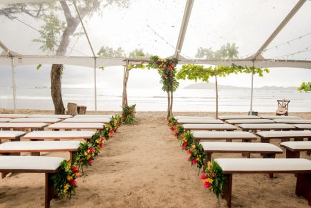 Tented Ceremony Playa Langosta Costa Rica Wedding Planner Meghan Cox Mil Besos Photographer Sylvia Guardia