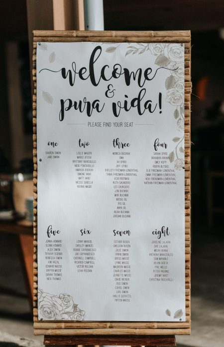 Destination Wedding Seating Chart, Wedding Planner: Meghan Cox, Mil Besos, Photographer: Costa Vida