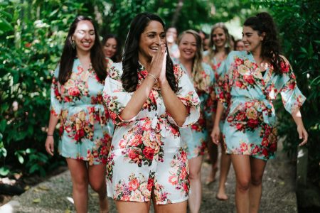 Bride and Bridesmaids Costa Rica Beach Wedding