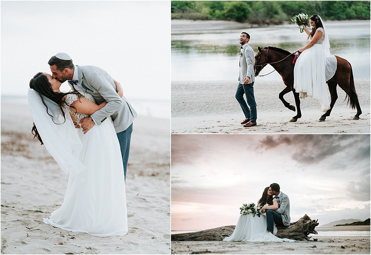 beach sunset horeses bride riding
