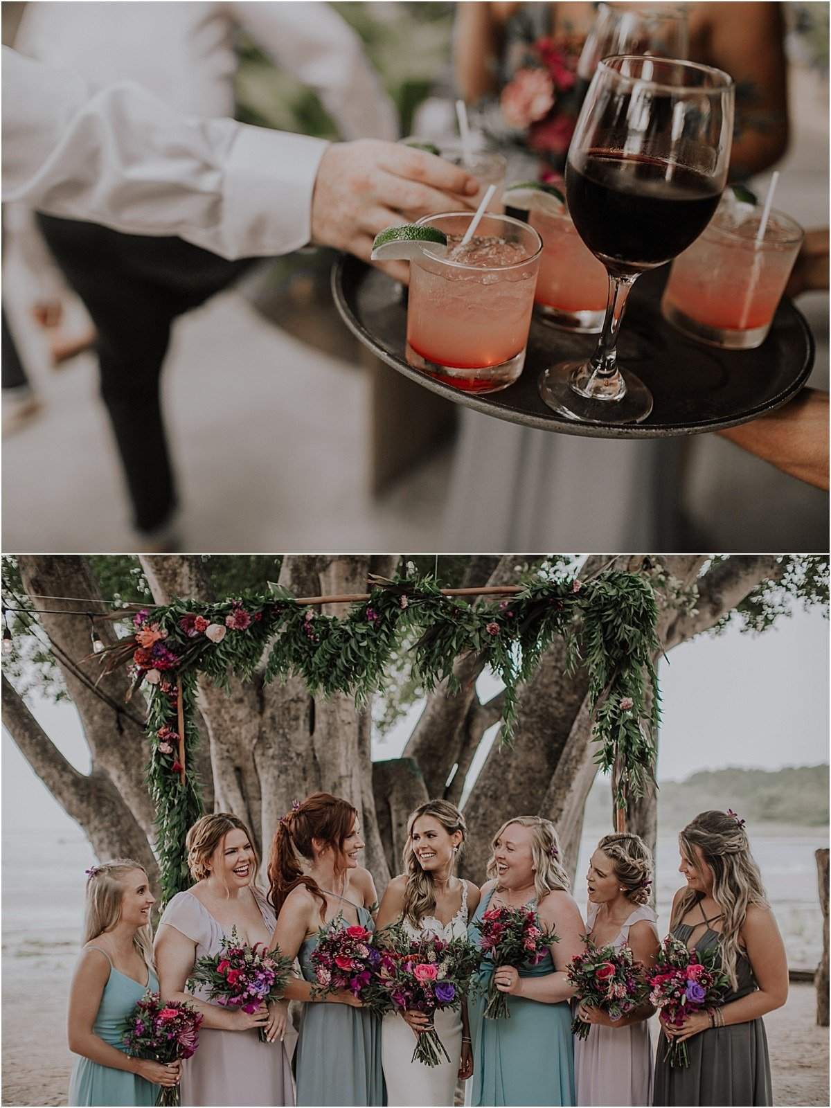 cocktail and bridesmiads cheers