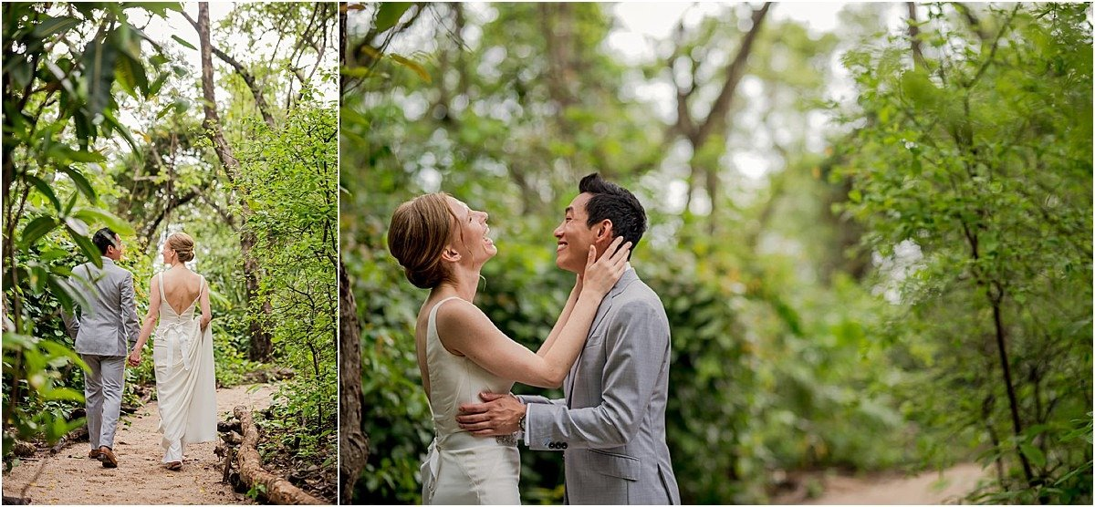 first looks in lush green gardens