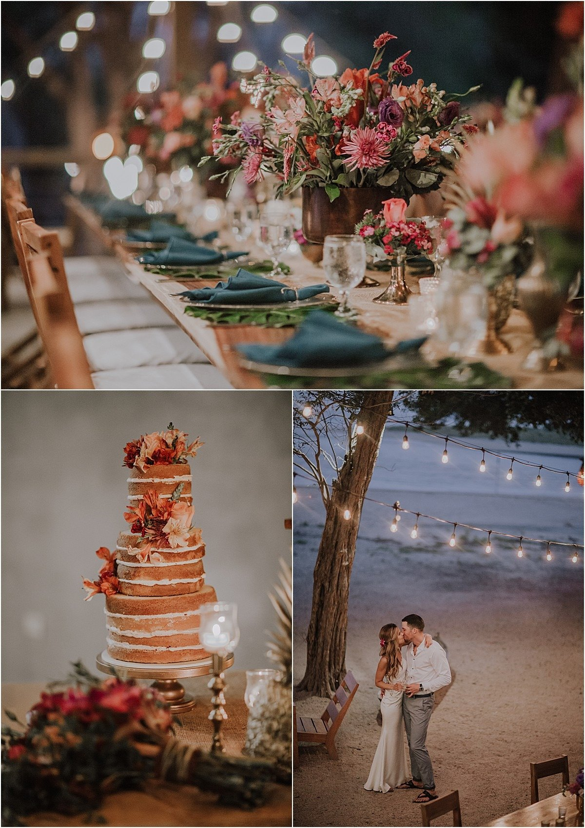 naked cake tamarindo wedding string lights