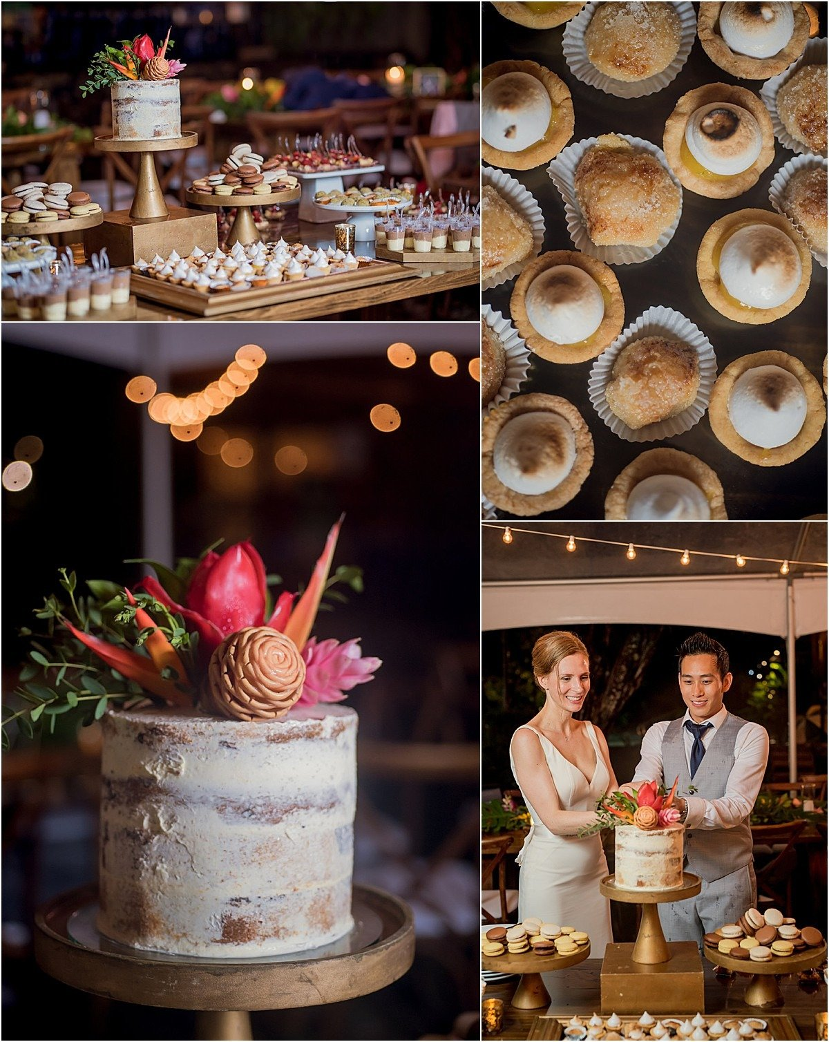 naked cake with sweets table