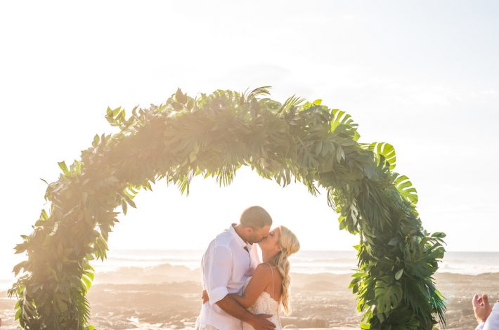 Tropical Ceremony Arch Playa Langosta Wedding Planner Meghan Cox Mil Besos, Photo Sylvia Guardia Photography