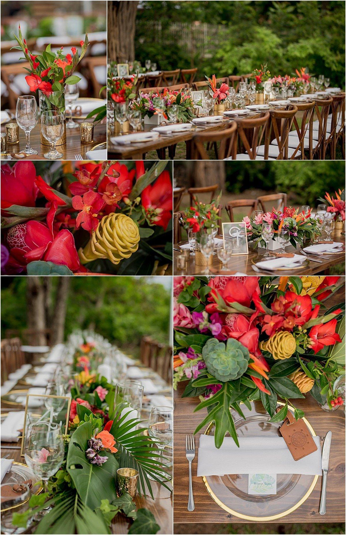 tropical wedding tabletop in costa rica
