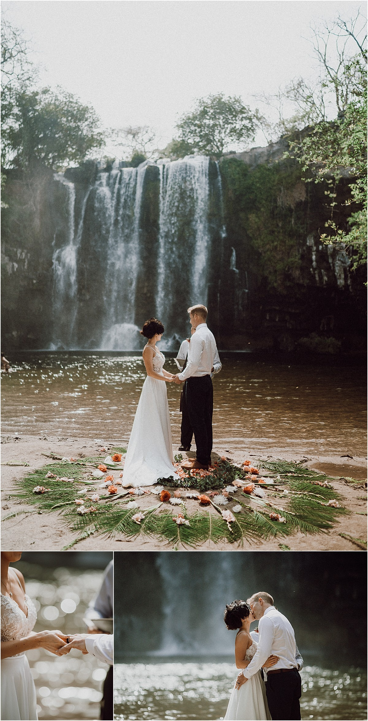 waterfall elopement ceremony flower decor