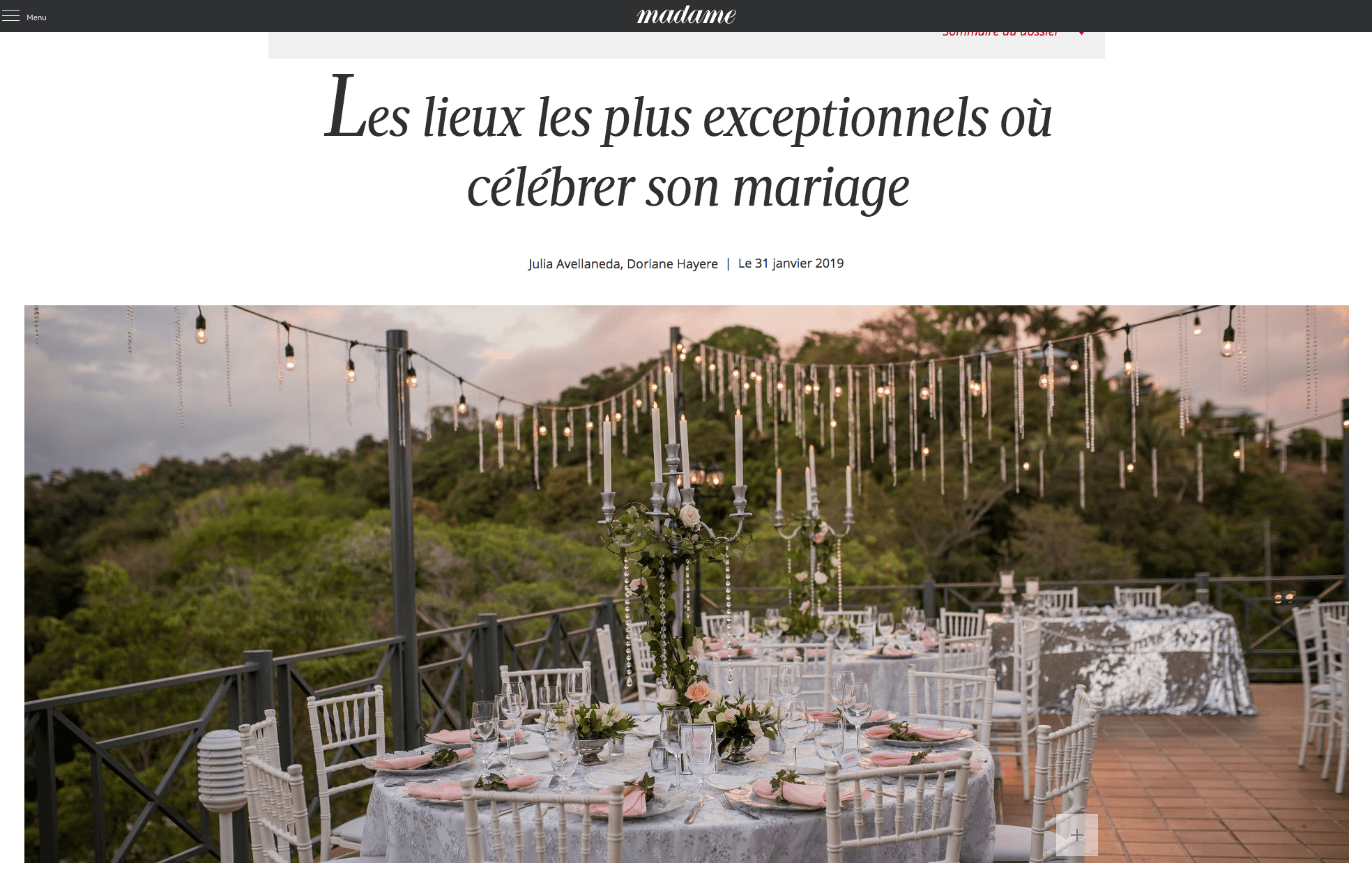 Le Figaro Madame Featured Costa Rica Wedding