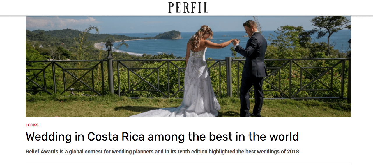 Revista Perfil in Argentina Featured Costa Rica Wedding