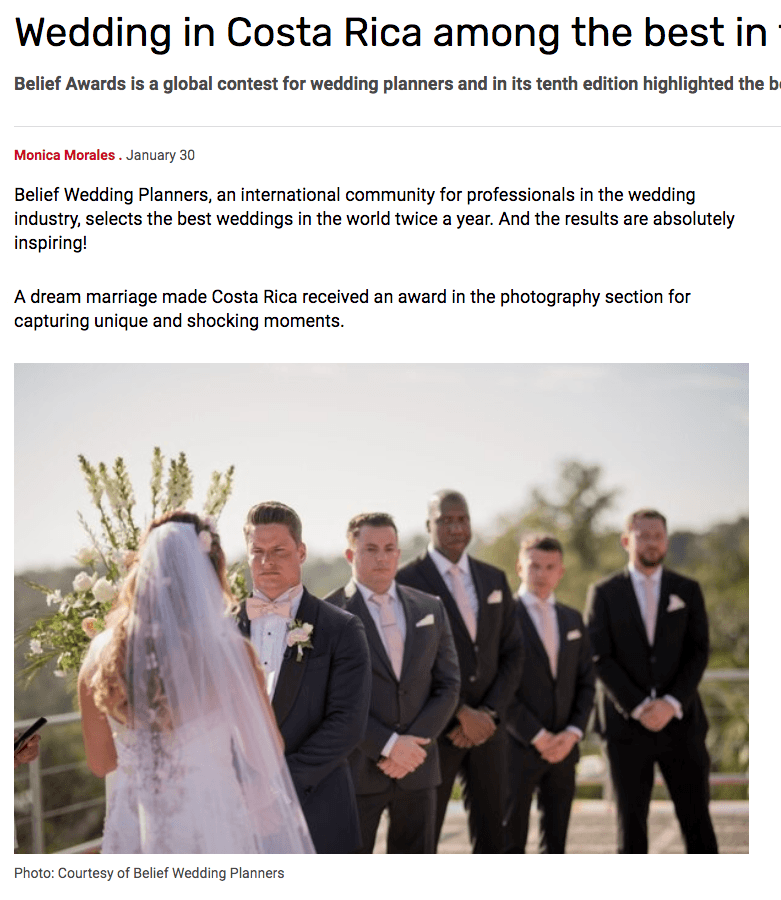 Revista Perfil in Argentina features Costa Rica Wedding