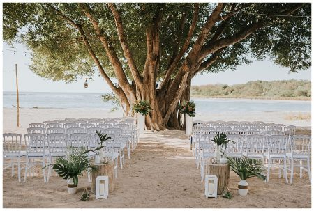 Beach Ceremony White Chairs Matapalo Tree Mil Besos Wedding Pangas Tamarindo Costa Rica
