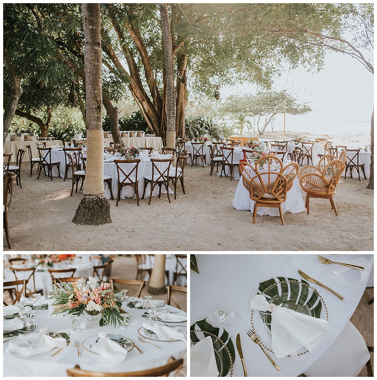 Sweetheart Table Palm Tropical Floral Tablescape Table Setting Reception Mil Besos Wedding Pangas Tamarindo Costa Rica