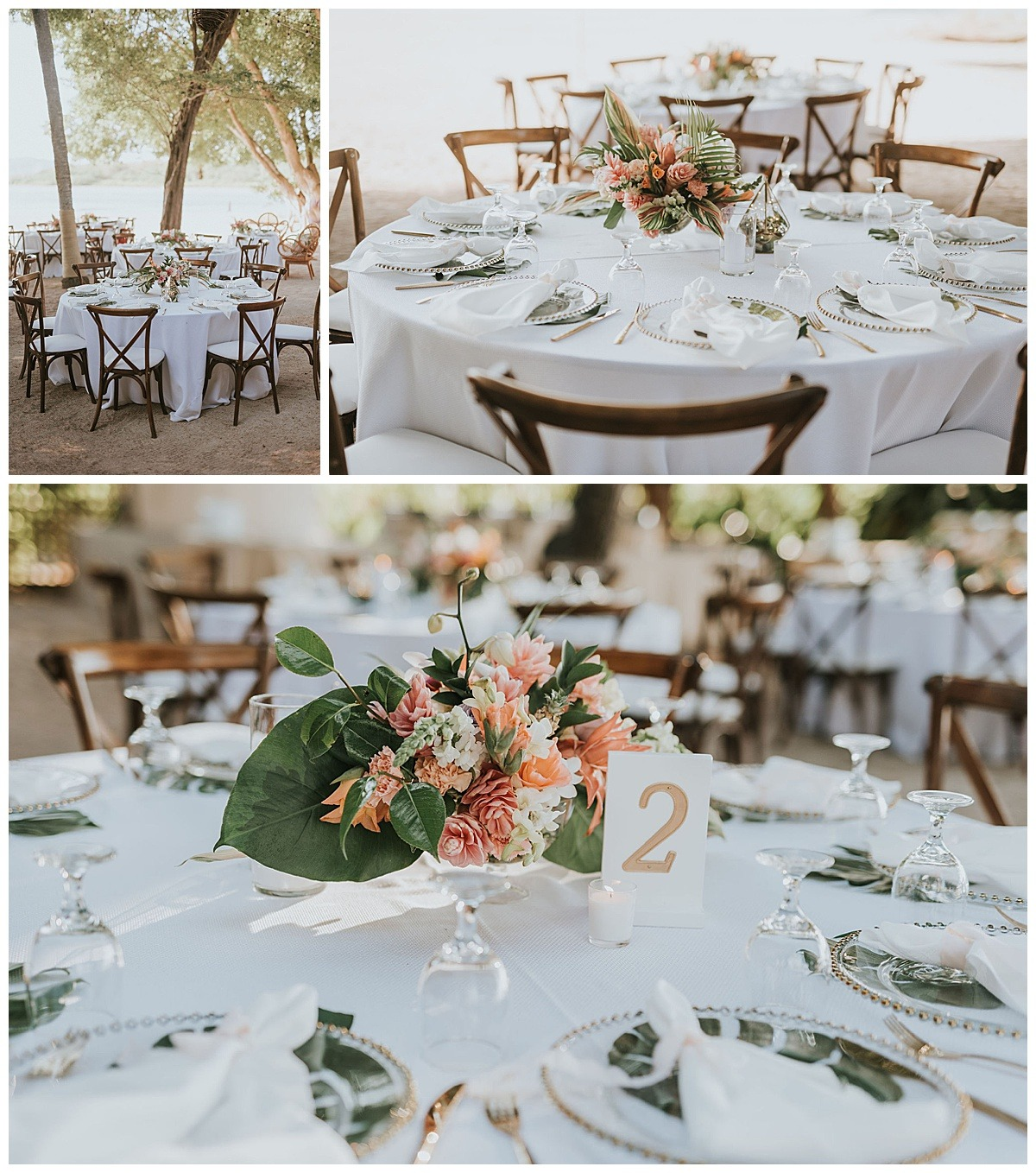 Tropica Floral Palm Tablescape Table Setting Mil Besos Wedding Pangas Tamarindo Costa Rica