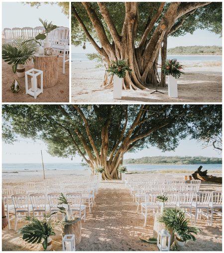Beach Ceremony Tropical White Matapalo Tree Mil Besos Areli and George Wedding Pangas Tamarindo Costa Rica