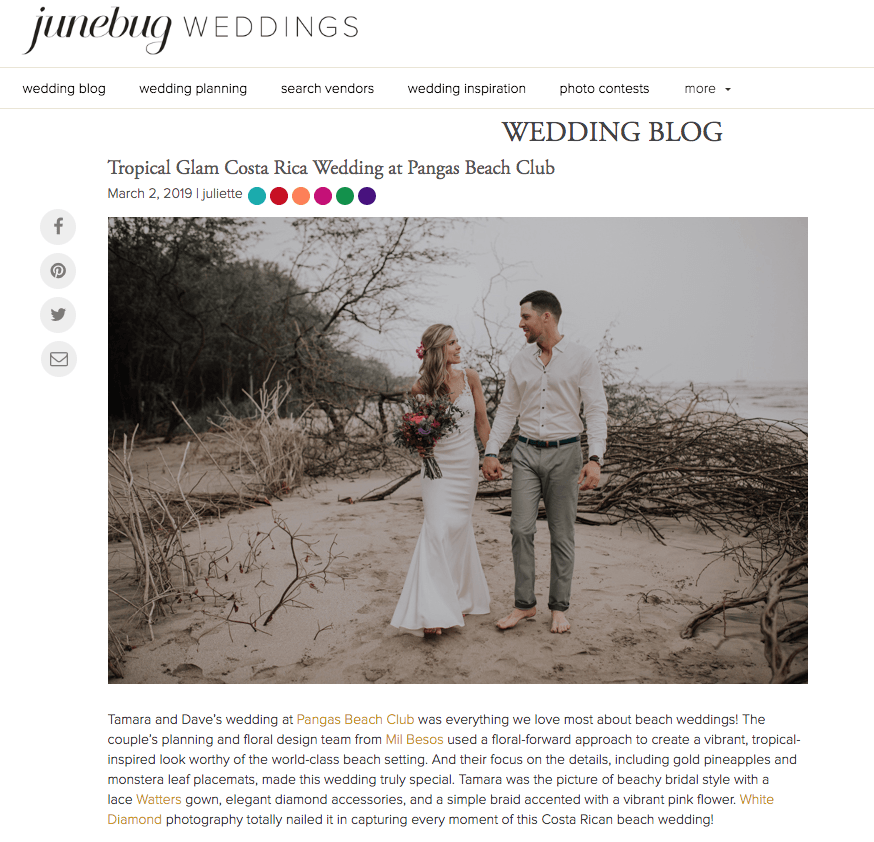 Junebug Wedding features Costa Rica Destination Wedding Planner
