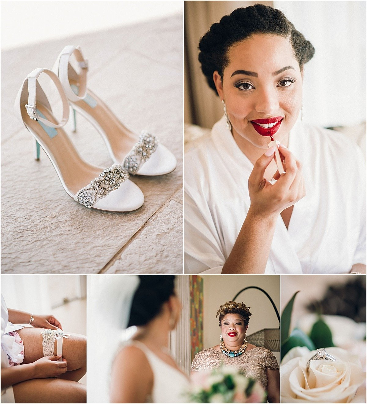 brides shoes and red lipstick