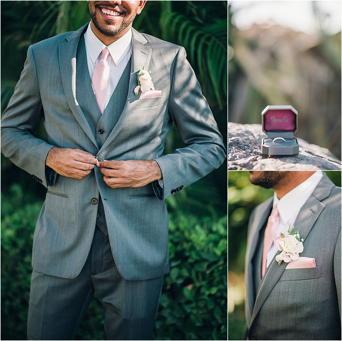 grooms grey suit with light pin tie