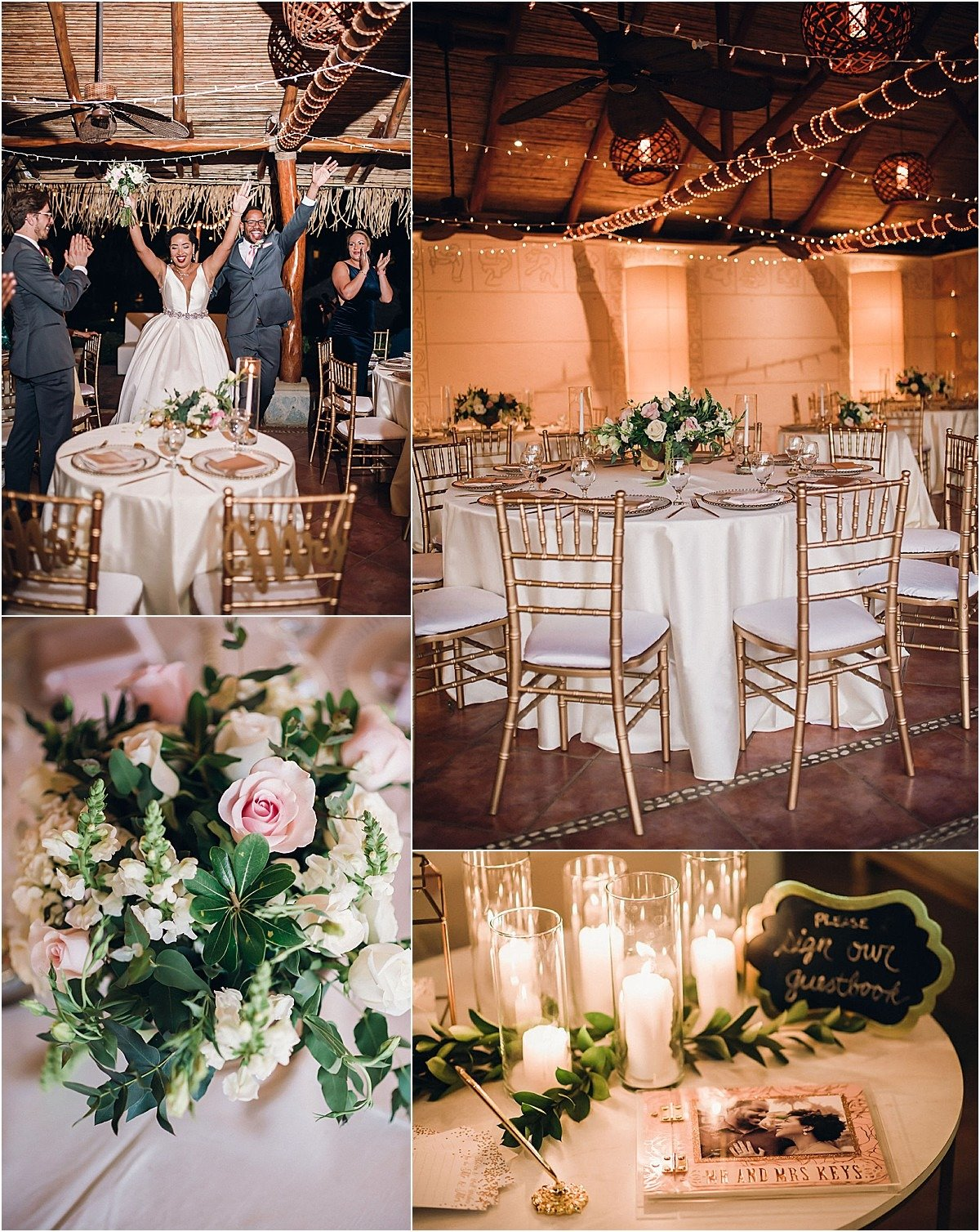night reception lighting and guestbook