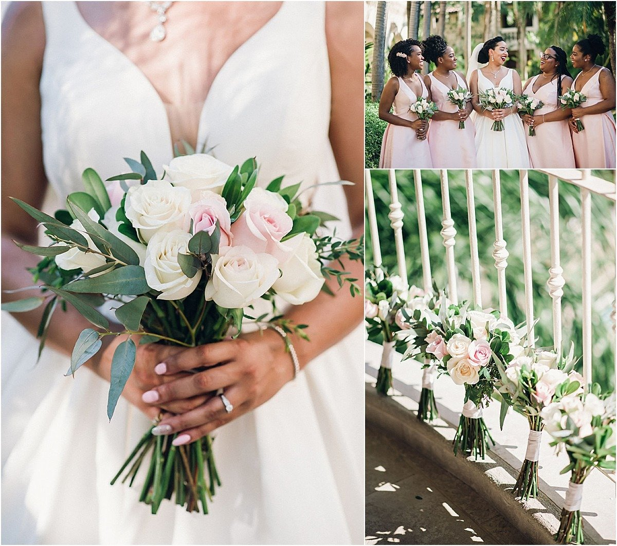 pink blush and white roses bouquet
