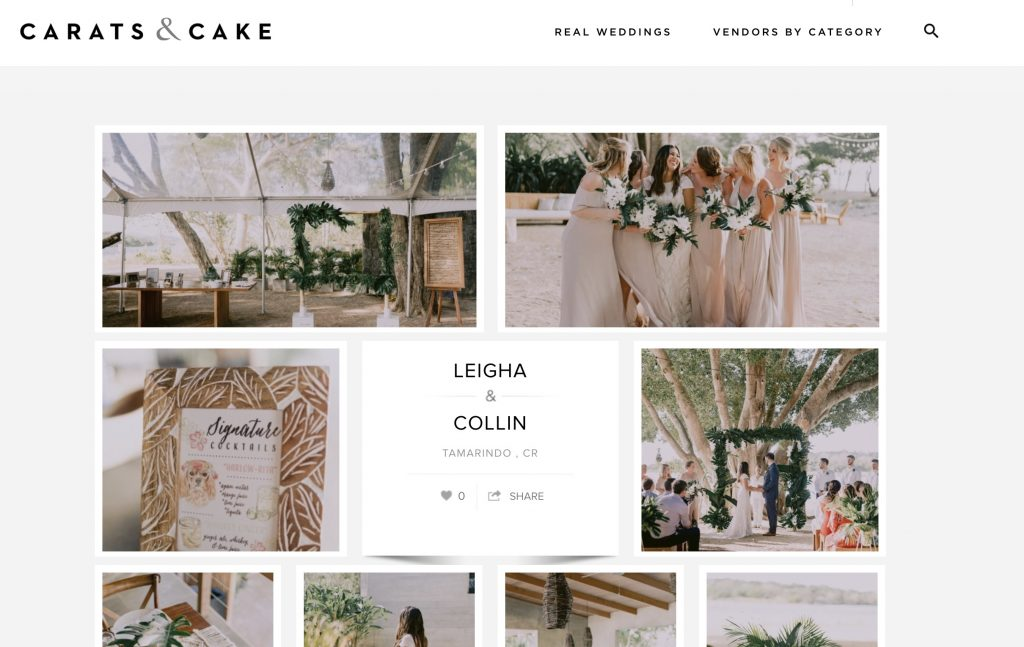 carats and cake real wedding feature leigha collin