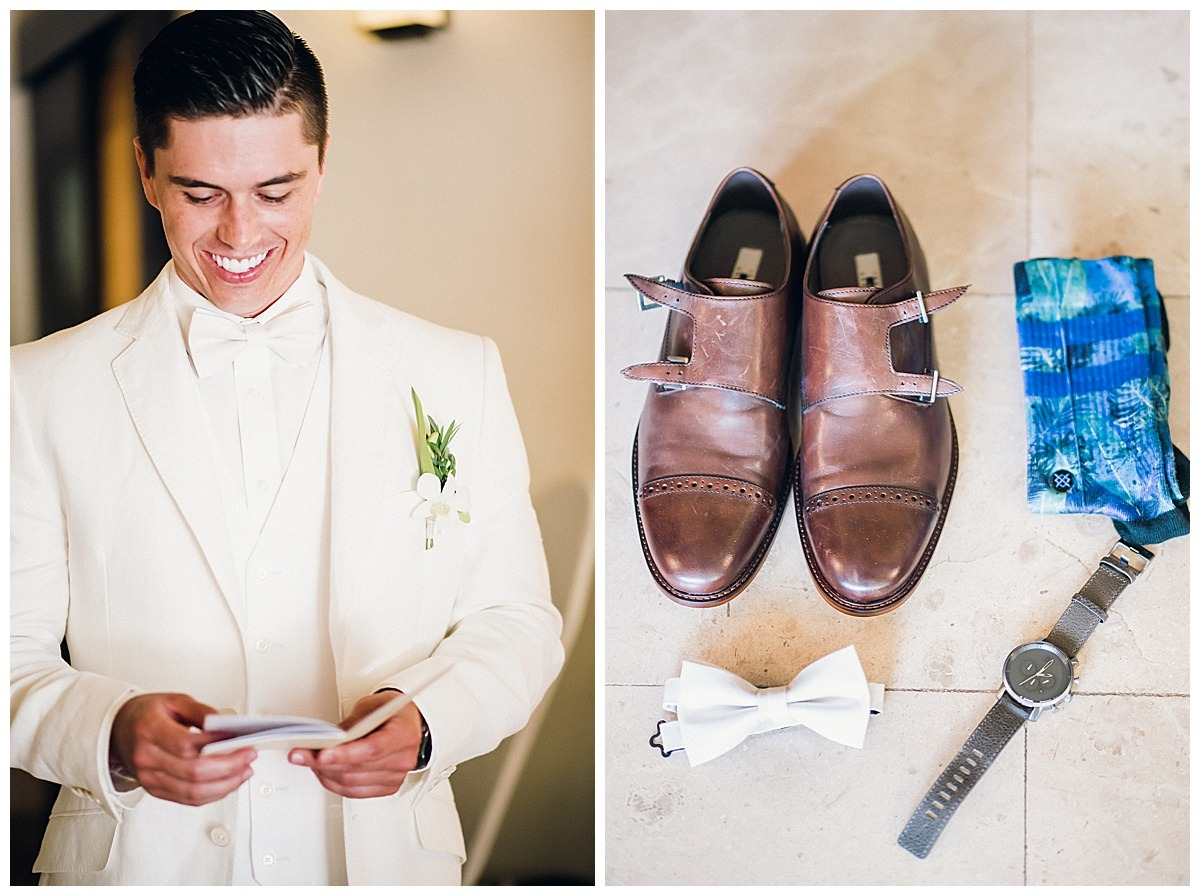 groom white tux shoes details