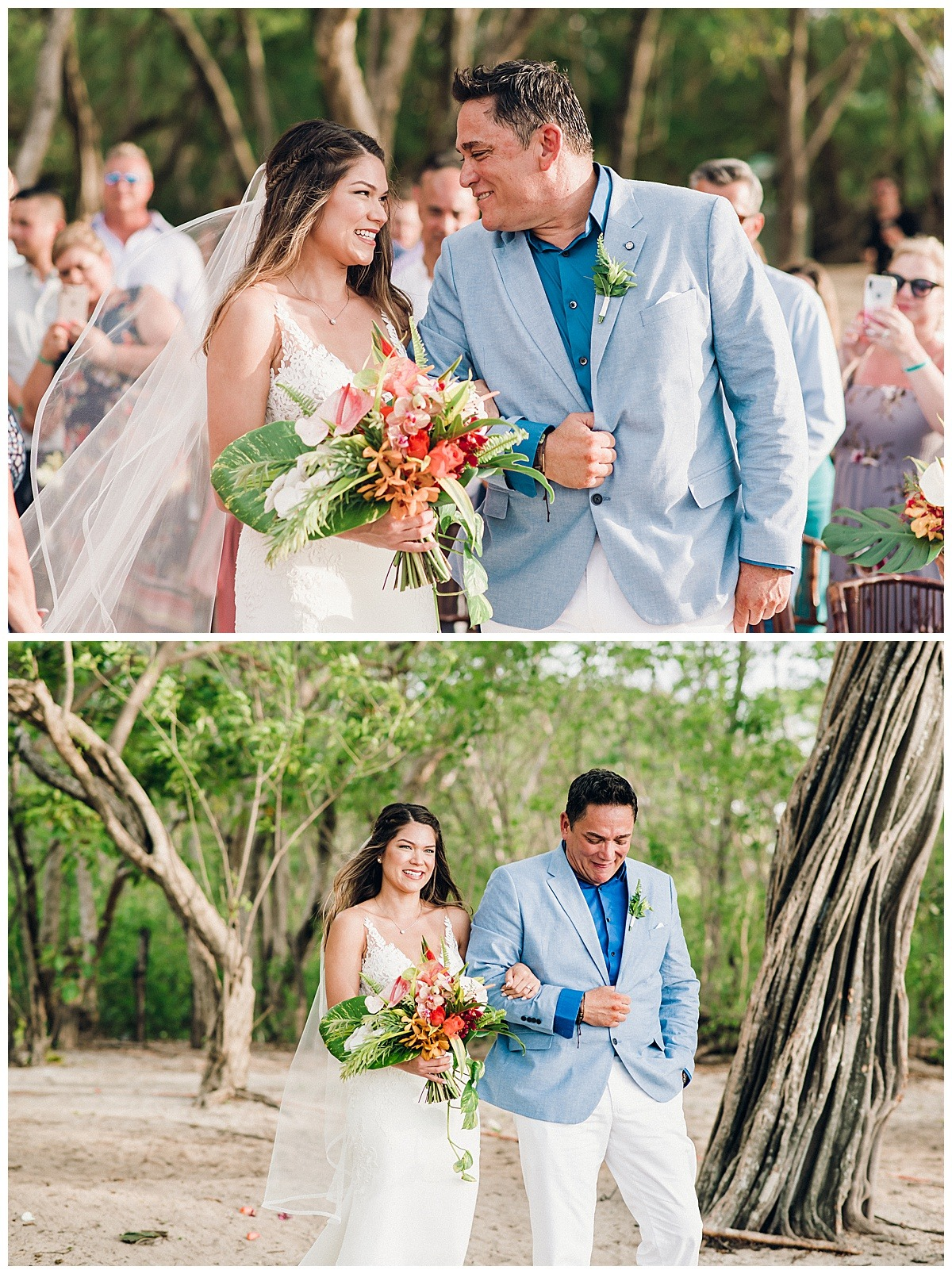 bride with her dad wearing a blue suit