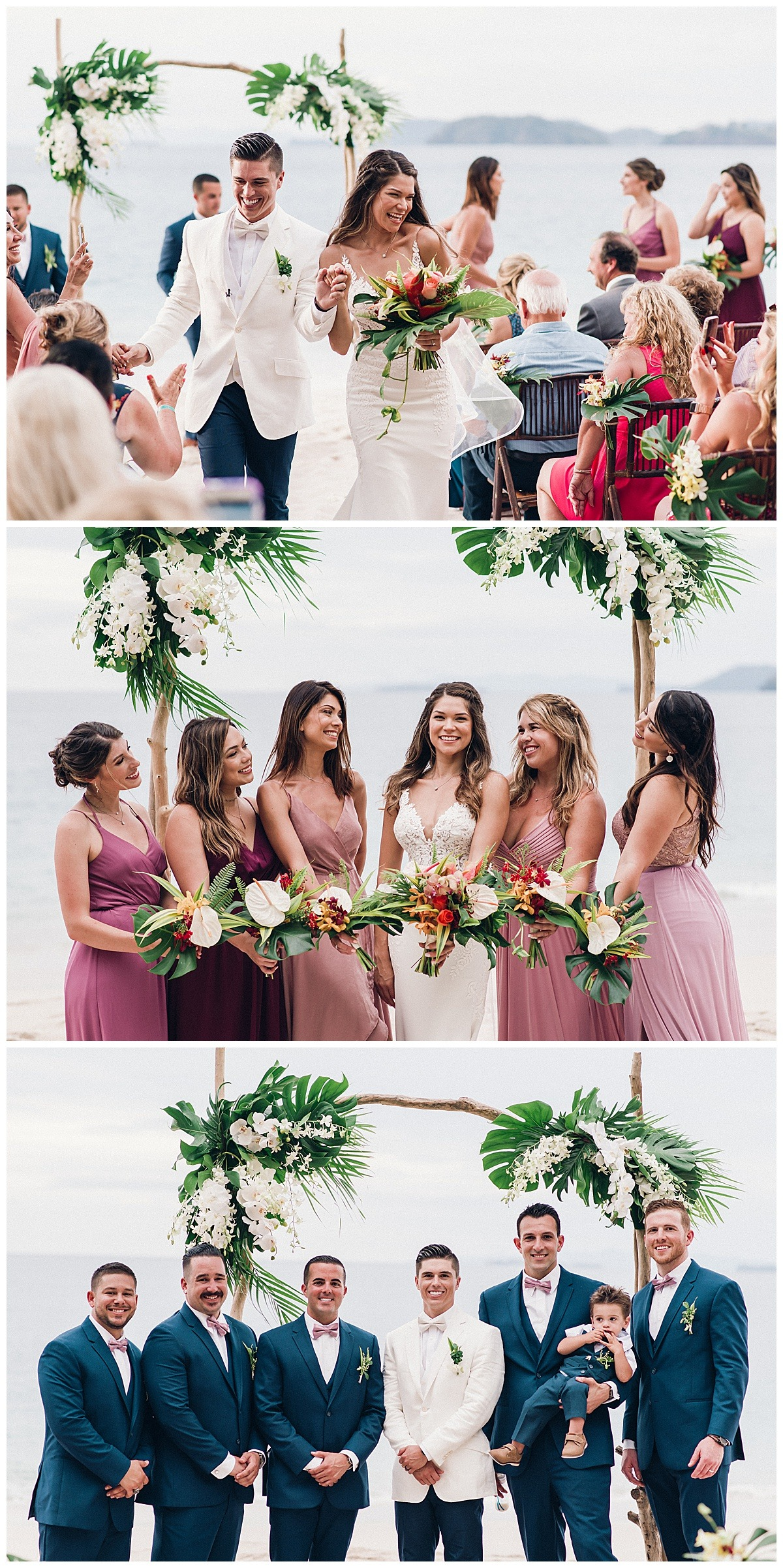 bridesmaids in blush gowns and tropical florals