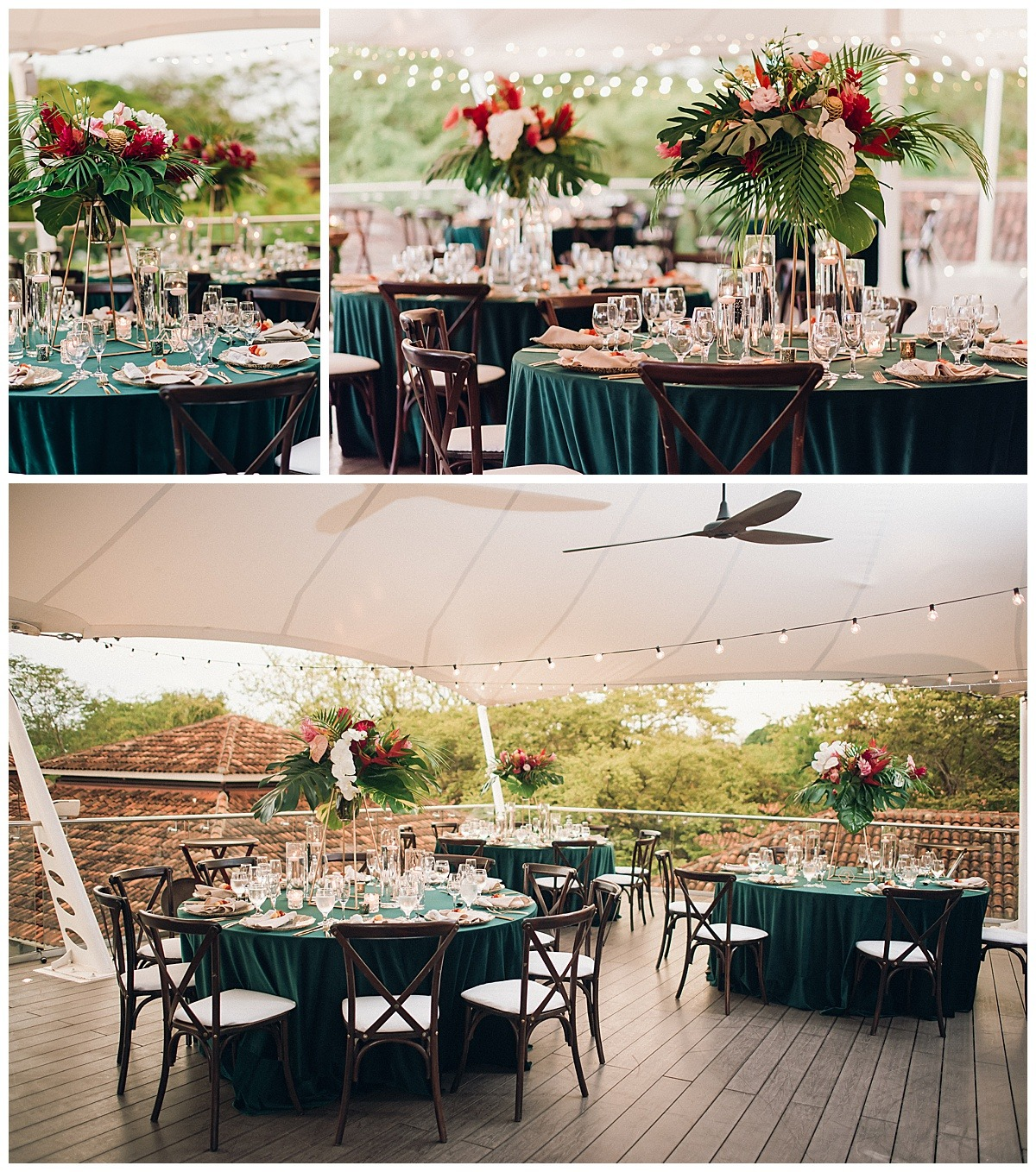 teal tablescape red green dark wood