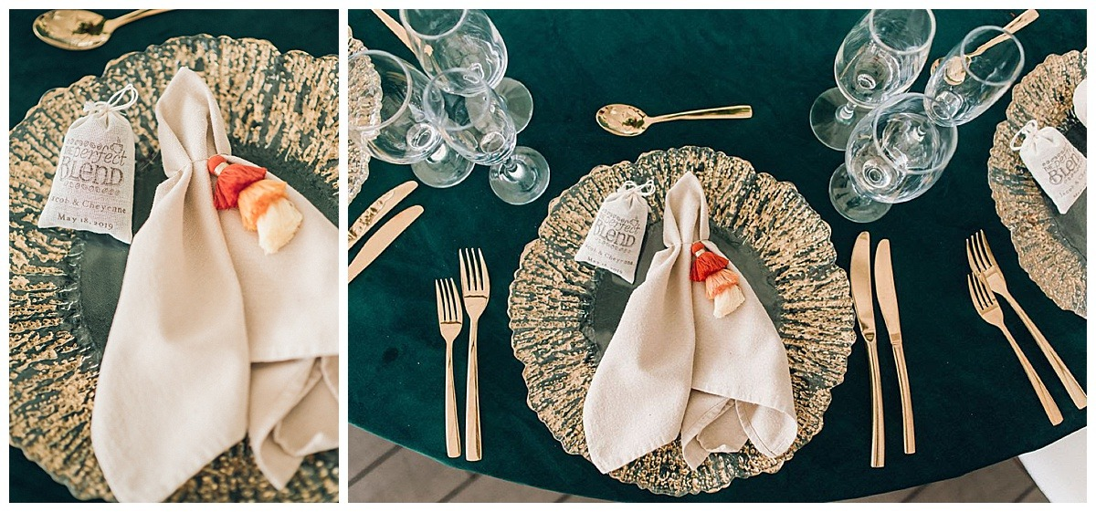 gold and teal rental decor