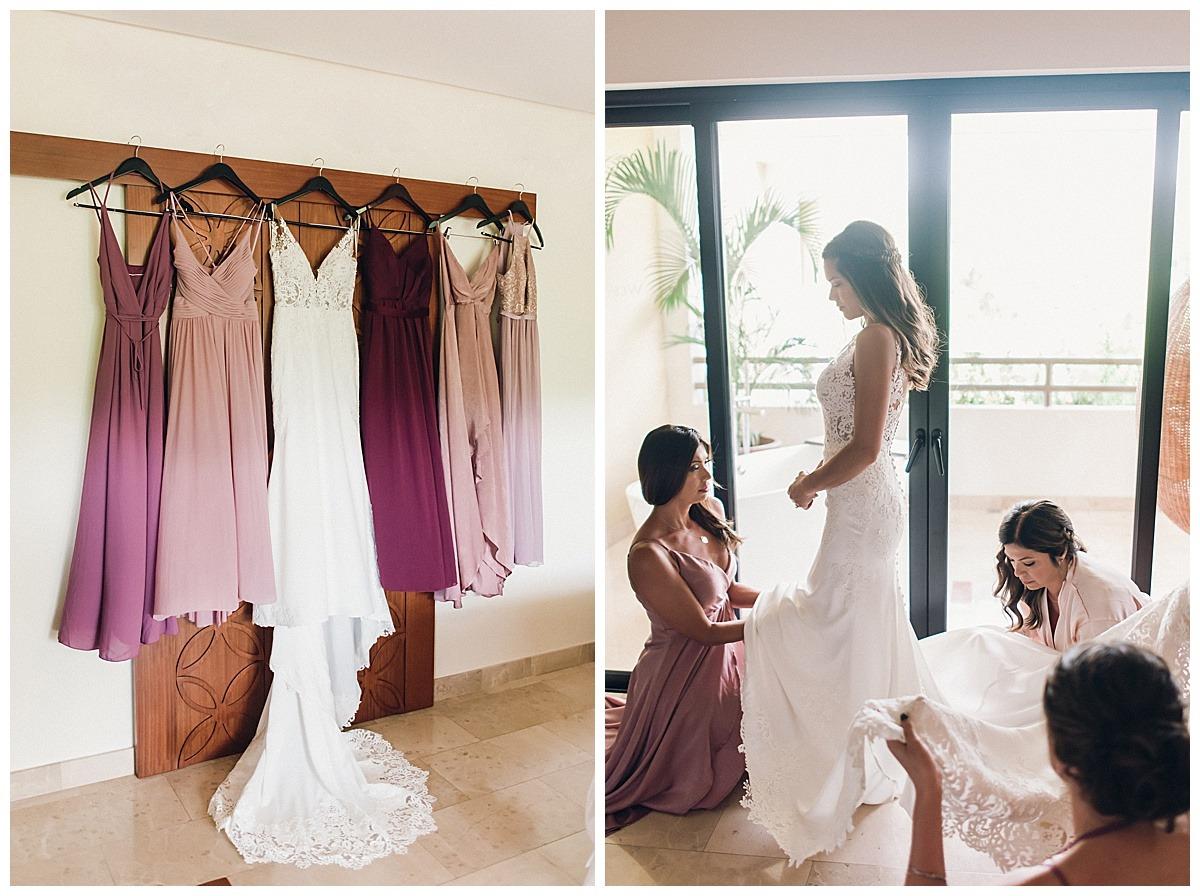 purple blush bridesmaids gowns