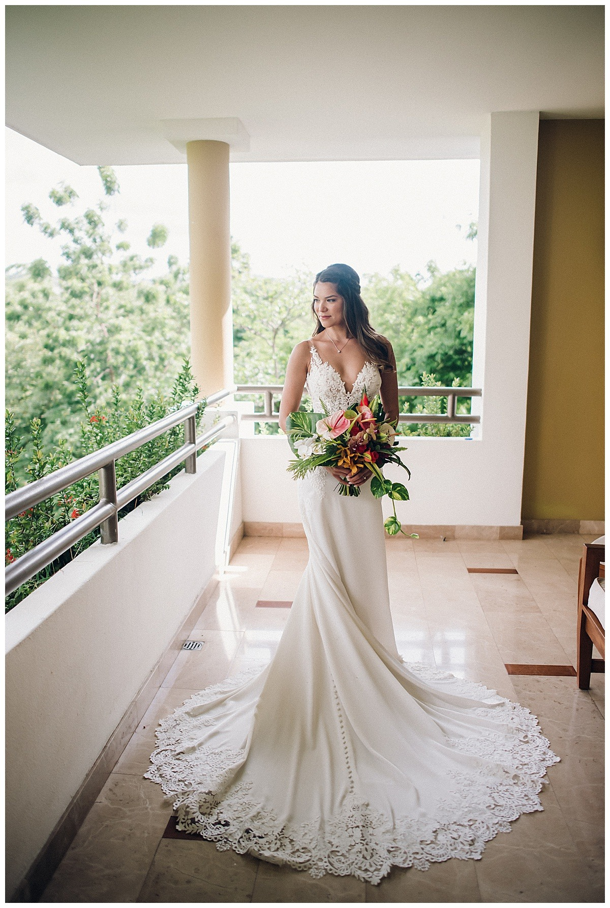 bride in beautiful lace gown