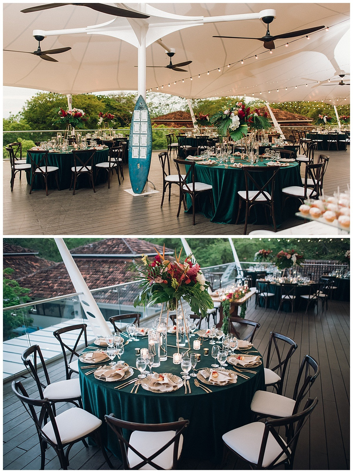 blue teal table cloth details