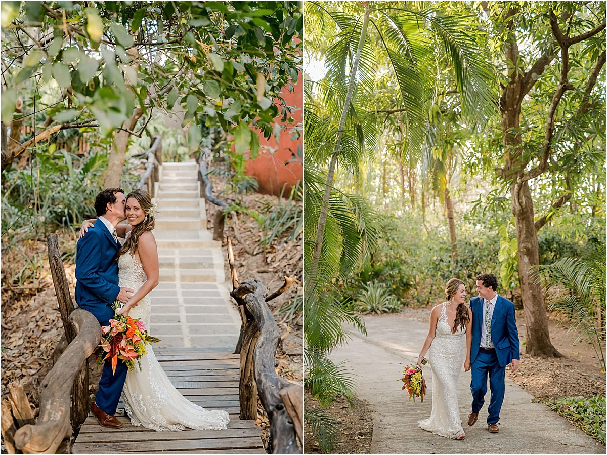 bride and groom in jungle of costa rica love wedding