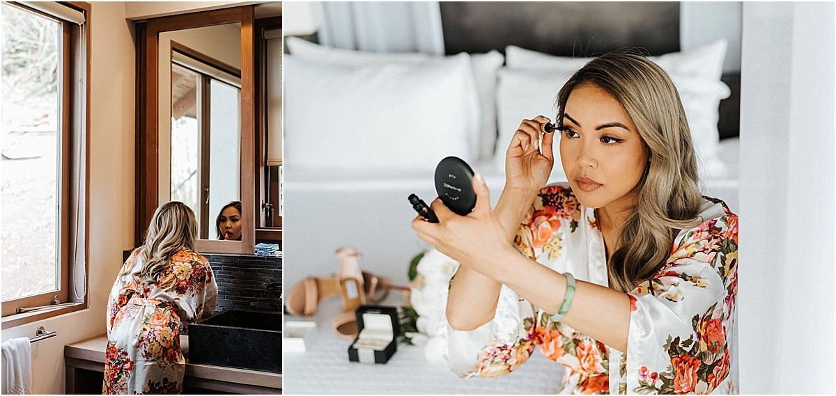 bride doing her own make up glam artist