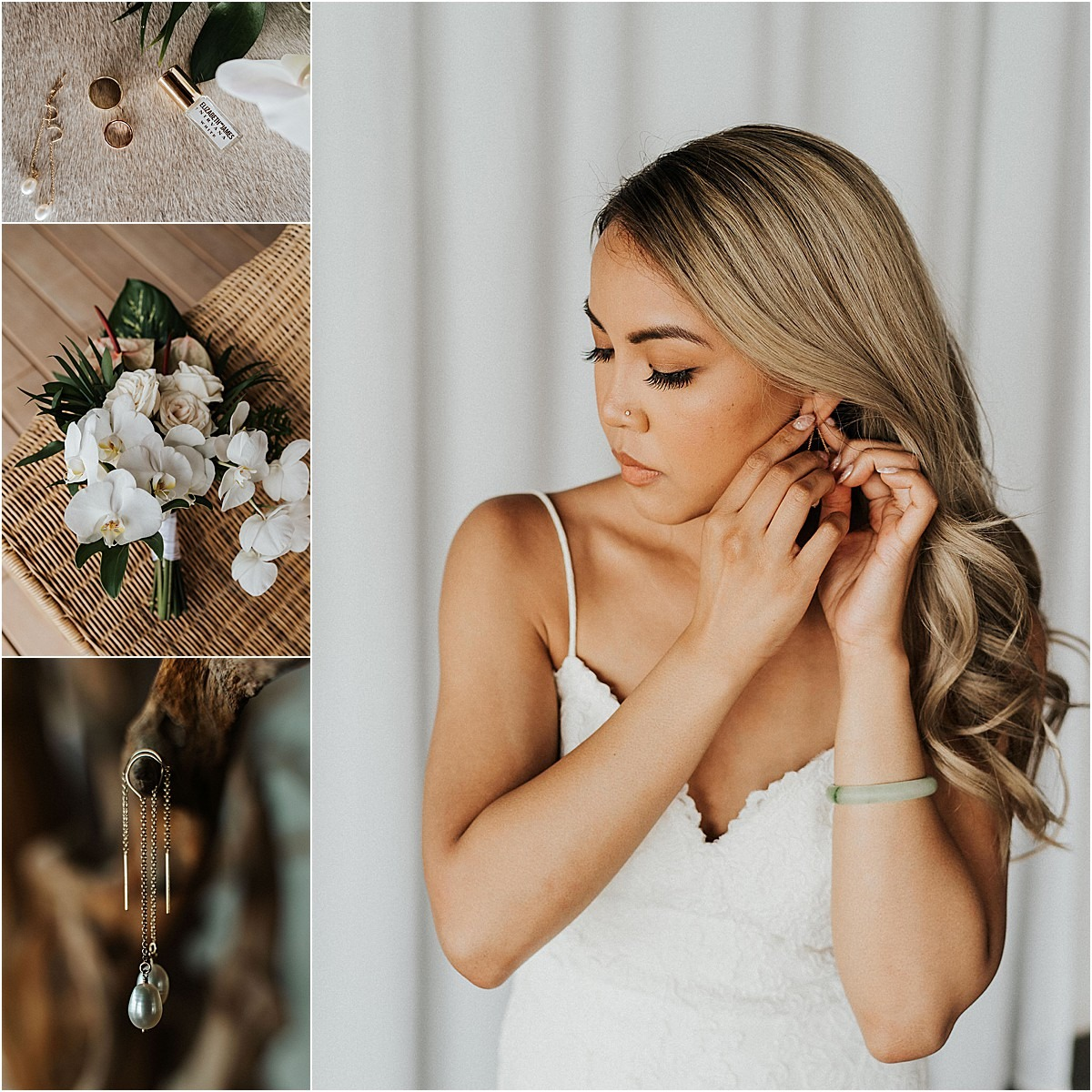 bride getting glam for big day accessories earrings dress