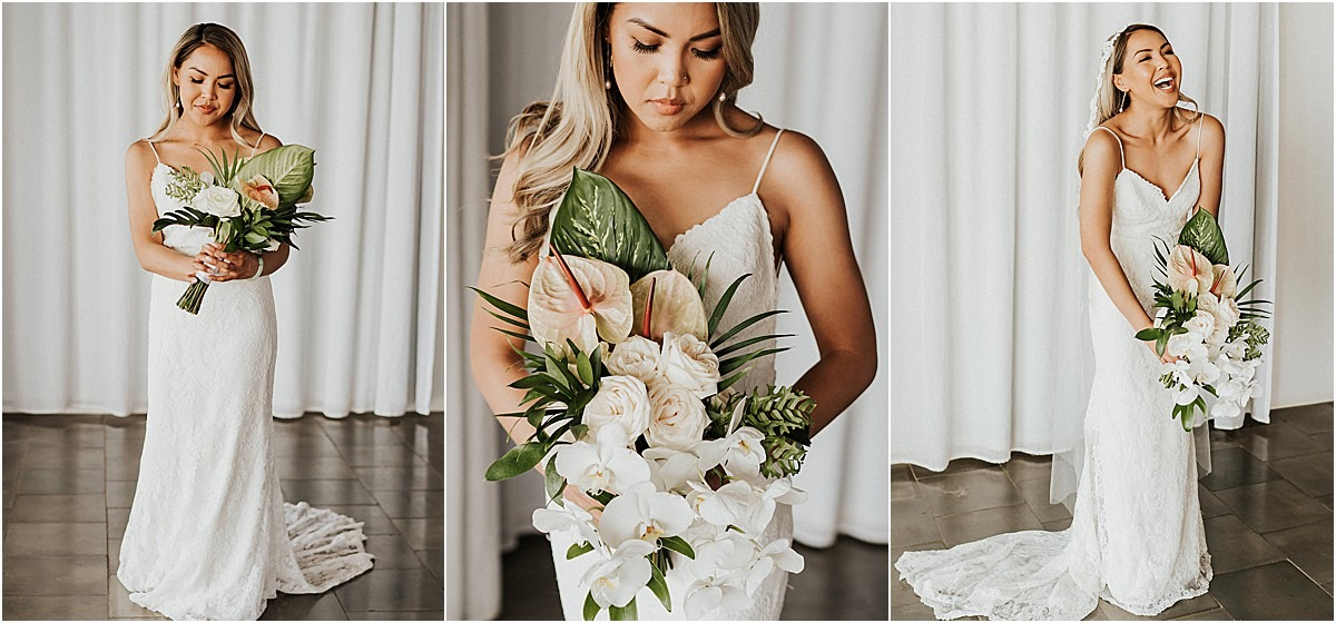 bride with florals tropicsl gown green pales