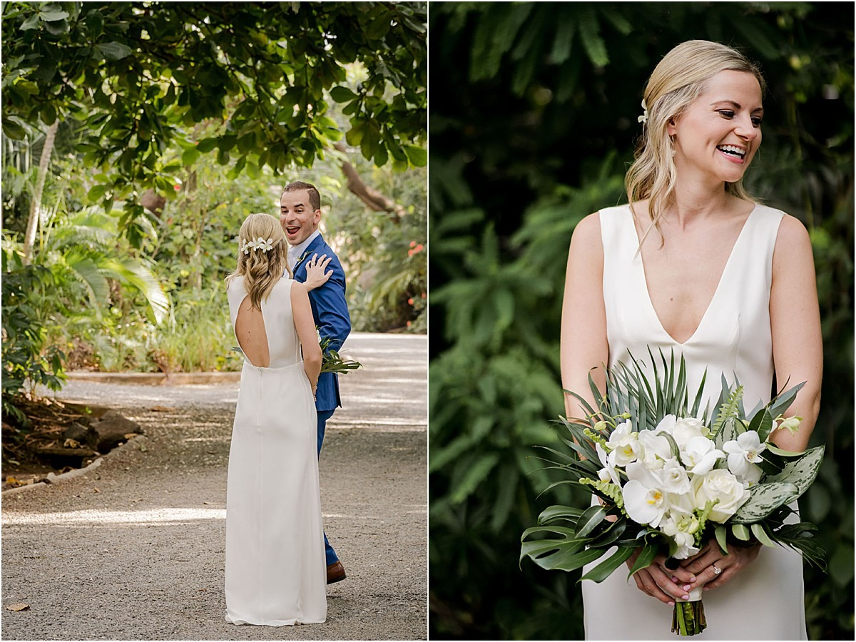 brides smile first looks wedding tropical florals