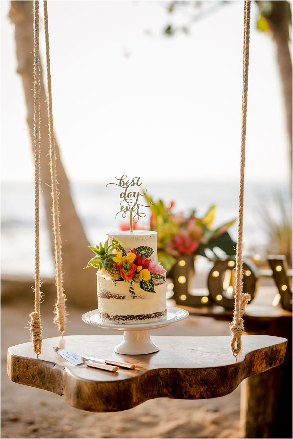 cake swing beach wedding naked wedding