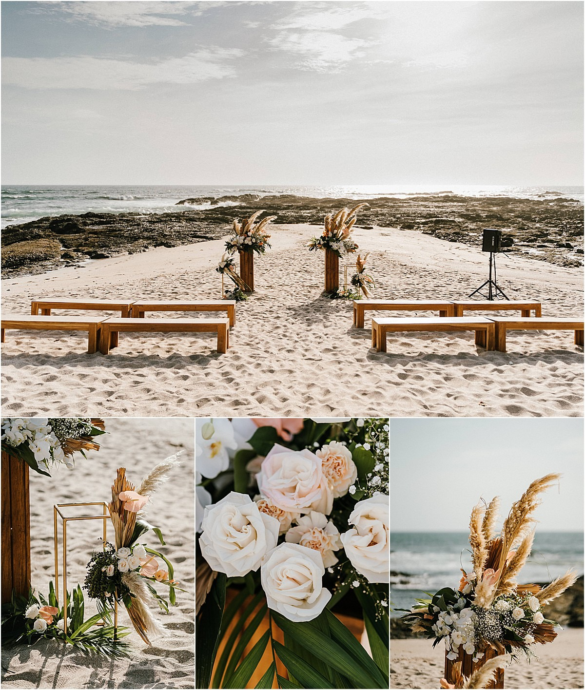 ceremony style deco beach wedding
