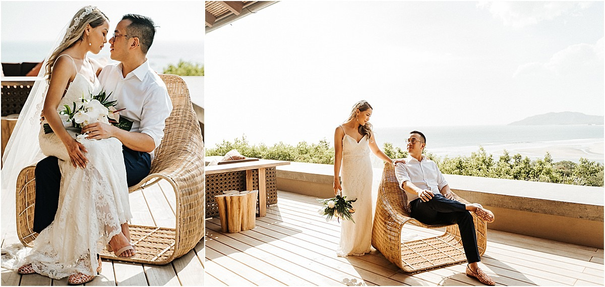 couple shoots in wicker chair boho
