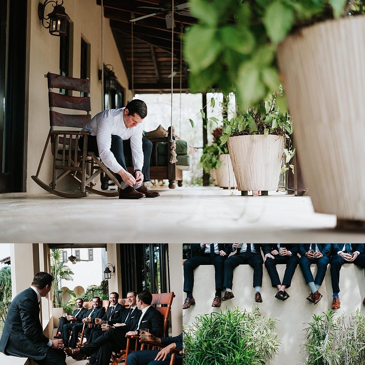 groom getting ready in las catalinas private villa