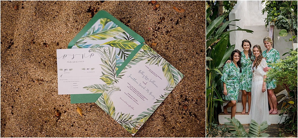 invites and bridesmaids love tropical